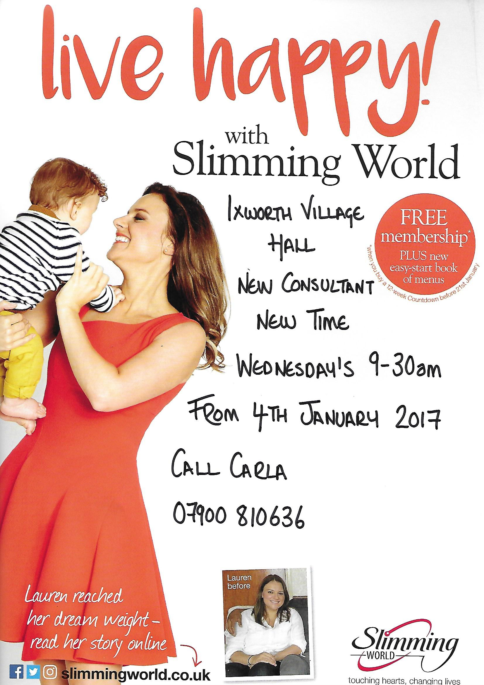 Slimming world ixworth village hall The slimming world